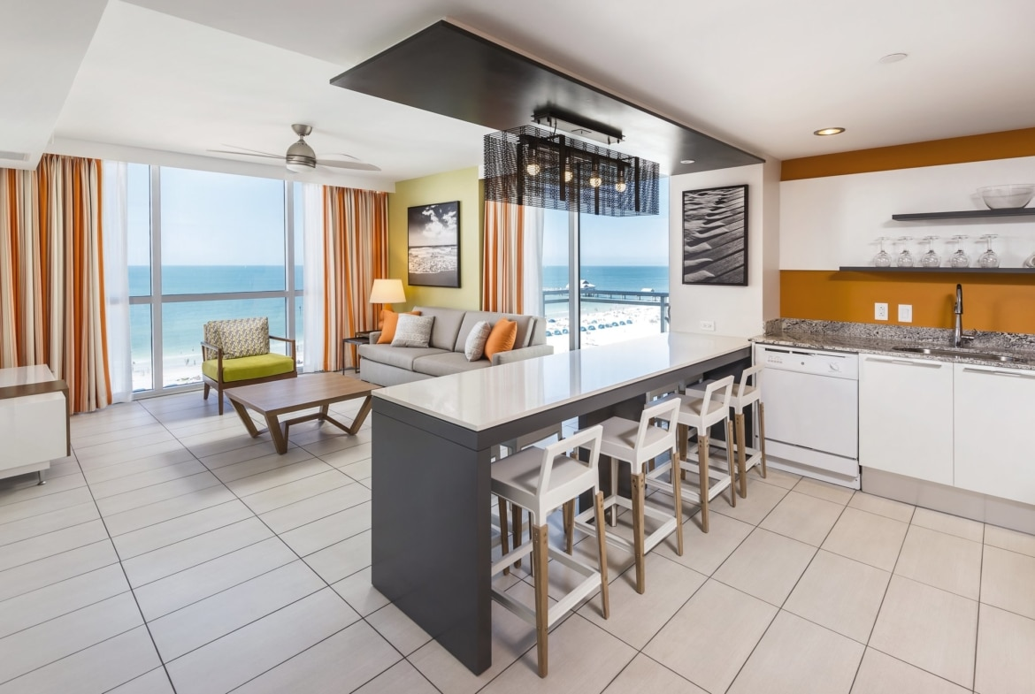 Wyndham Clearwater Beach Resort Living and Dining Area