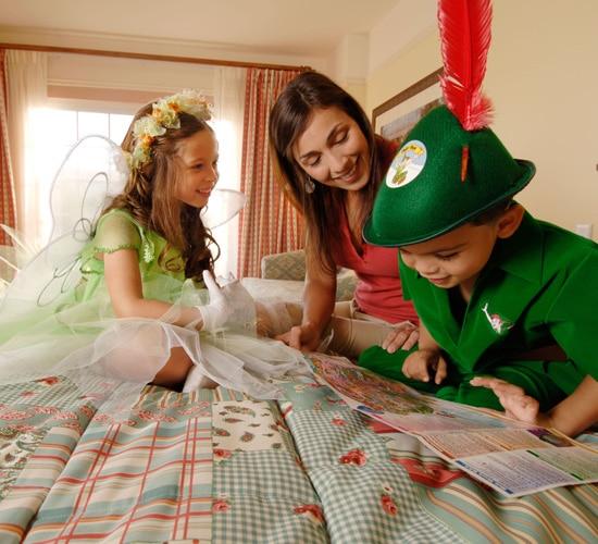 Family looking at a map at a Disney resort
